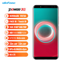 "Ulefone Power 3S 6.0 ""18:9 FHD + Android 7.1 Ponsel MTK6763 Octa Core 4GB + 64GB 16MP 4 Camera 6350 MAh Face ID 4G Smartphone(China)"