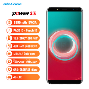 """Ulefone Power 3S 6.0"""" 18:9 FHD+ Android 7.1 Mobile Phone MTK6763 Octa Core 4GB+64GB 16MP 4 Camera 6350mAh Face ID 4G Smartphone(China)"""