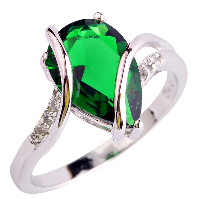 Moda Jóias Verde prateado Tamanho do Anel 6 7 8 9 10 Mulheres Presente Frete Grátis Atacado