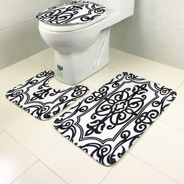 3pcs/set Bathroom Toilet Seat Cover With Non Slip Mat Zebra Leopard Pattern  Kit