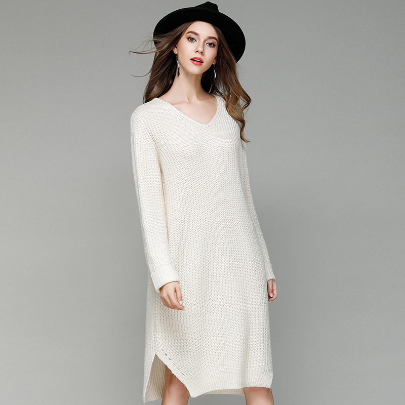2019 Spring Autumn New Solid Color Loose Large Size Knit Dress Long Section V-Neck Shirt Sweater