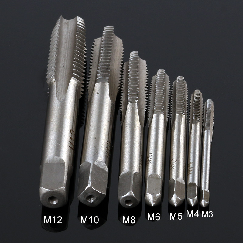7 PCS /SET Group HSS M3 -M12 Mechanical Screwdriver Tapered Square Handle Straight Slot Screw Tapping Metric Plug Hand Drill