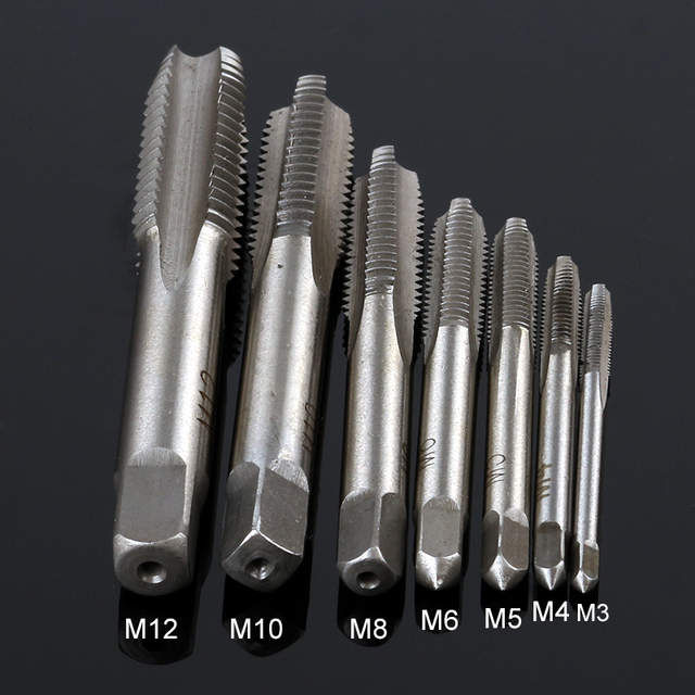 US $4 22 15% OFF|7 PCS /SET Group HSS M3 M12 Mechanical Screwdriver Tapered  Square Handle Straight Slot Screw Tapping Metric Plug Hand Drill-in Drill