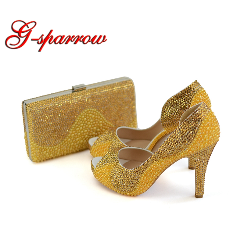 Peep Toe Gold Pearl Rhinestone Bridal Dress Shoes and Clutch Platform 4 Inches High Heel Wedding