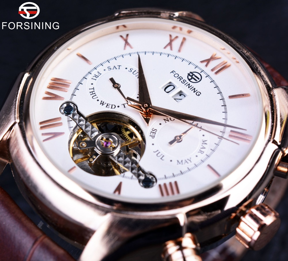 цены Forsining Royal Classic Rose Gold Case Brown Leather Strap Mens Automatic Watch Top Brand Luxury Erkek Saat Clock Men Wristwatch