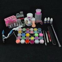 Nail Art Bling Decoration Powder Set with Acrylic Liquid Manicure 3g Glue Snding Buffer Block Kit for Nail Design Wholesaler