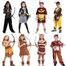 Umorden Kids Indian Princess Huntress Costume for Girls Child Prince Native Hunter Costumes Boys Halloween Dress Up