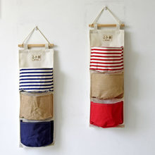 Grocery Bags Hanging Three Pocket Stitching Cotton Bag Containing Conjoined Hanging Organizers Home Furnishing Wall Decoration