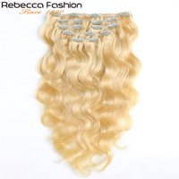 Rebecca Hair 7Pcs In Human Hair Extensions Body Wave Remy Hair Clip Blonde Color#613 Full Head 7Pcs Per Set Remy Hair Weaves