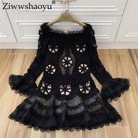 Ziwwshaoyu Новинка весны дизайнерское платье Для женщин с длинным рукавом цветок квадратный воротник милой принцессы аппликации вышивка вырез