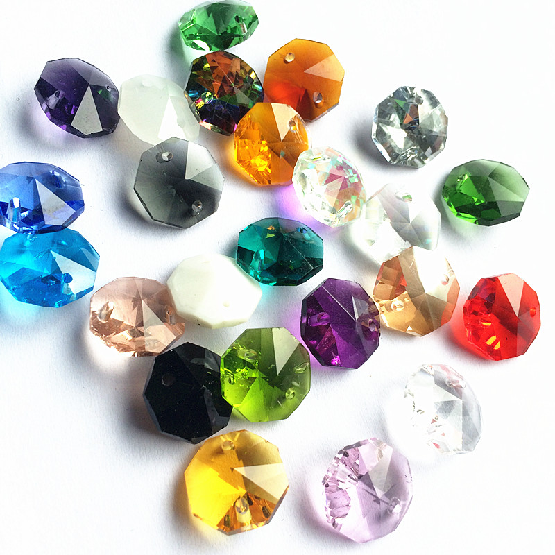 2000pcs Mixed colors 14mm Crystal Chandelier Octagon Beads in 2 holes For Sparkle Diy Crystal Lamp