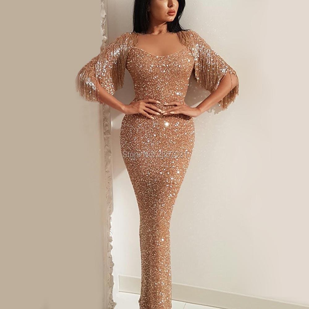 b1c7560a52e2 Shiny Muslim Mermaid Evening Dresses Heavy Handwork Dubai Arabic Formal  Turkey Bling Sequins Prom Dress African Abendkleider