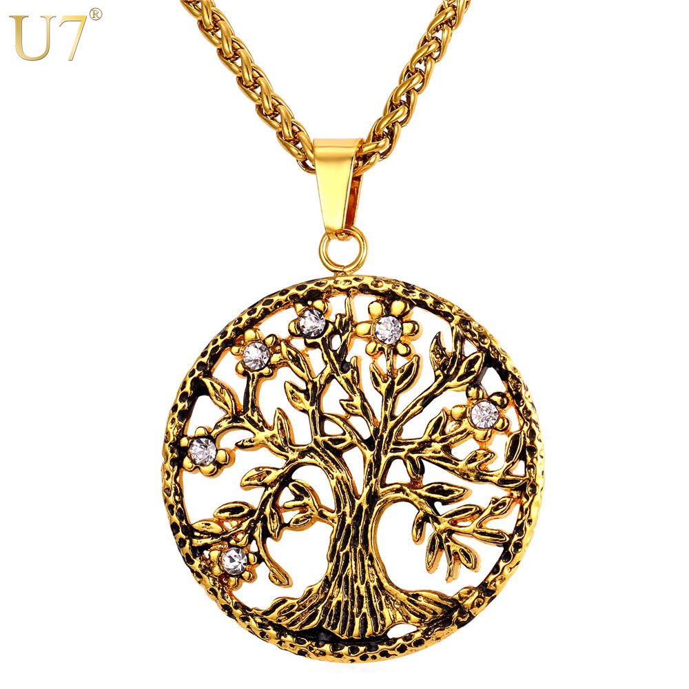 U7 brand tree of life charms pendant necklace rhinestone for Stainless steel jewelry necklace