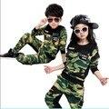 2017 Crianças Primavera Queda Roupas de Camuflagem 2 Pcs Boys & Girls Moda Splicing Esporte Dos Miúdos Terno Uniforme Militar Twinset G225