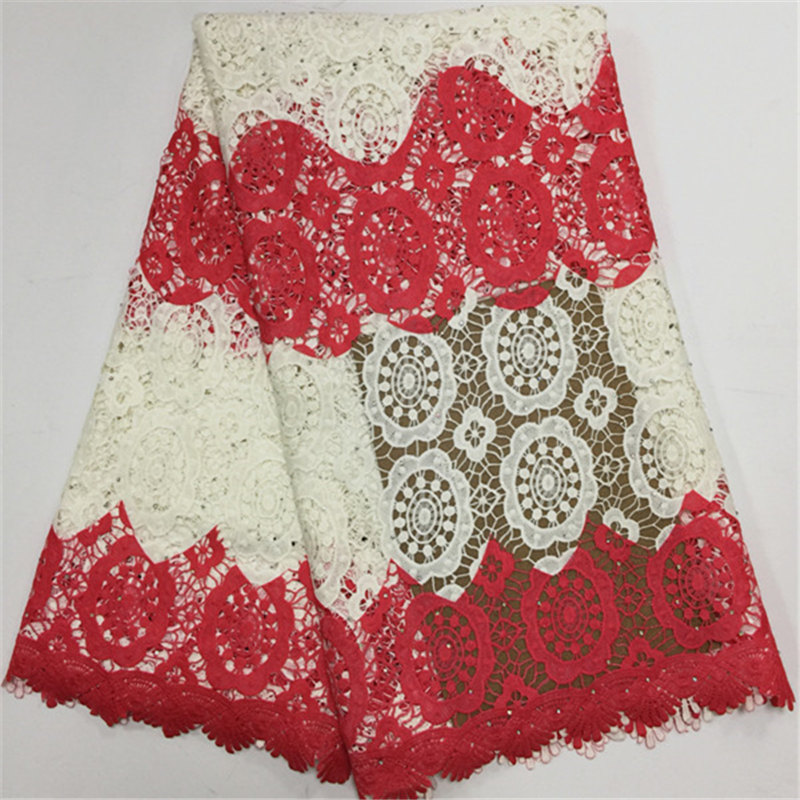 Tissu de dentelle de cordon africain Guipure coloré rouge tissu de dentelle de Guipur brodé de haute qualité pour le mariage
