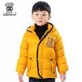 XIAOYOUYU Размер 110-150 Letter Pattern Дети Открытый Зимняя Куртка С Капюшоном Дизайн Теплые Дети Мальчик Моды Случайные Толстый Слой