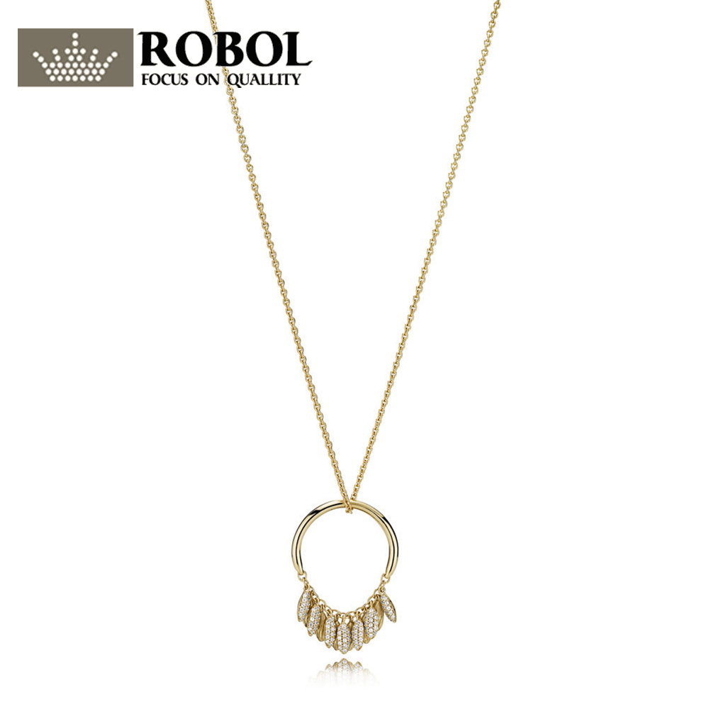 ROBOL 100% 925 Sterling Silver New 1:1 Passionate Pendant Necklace Clavicle Chain Sterling Silver Charm Necklace14k Gold JewelryROBOL 100% 925 Sterling Silver New 1:1 Passionate Pendant Necklace Clavicle Chain Sterling Silver Charm Necklace14k Gold Jewelry