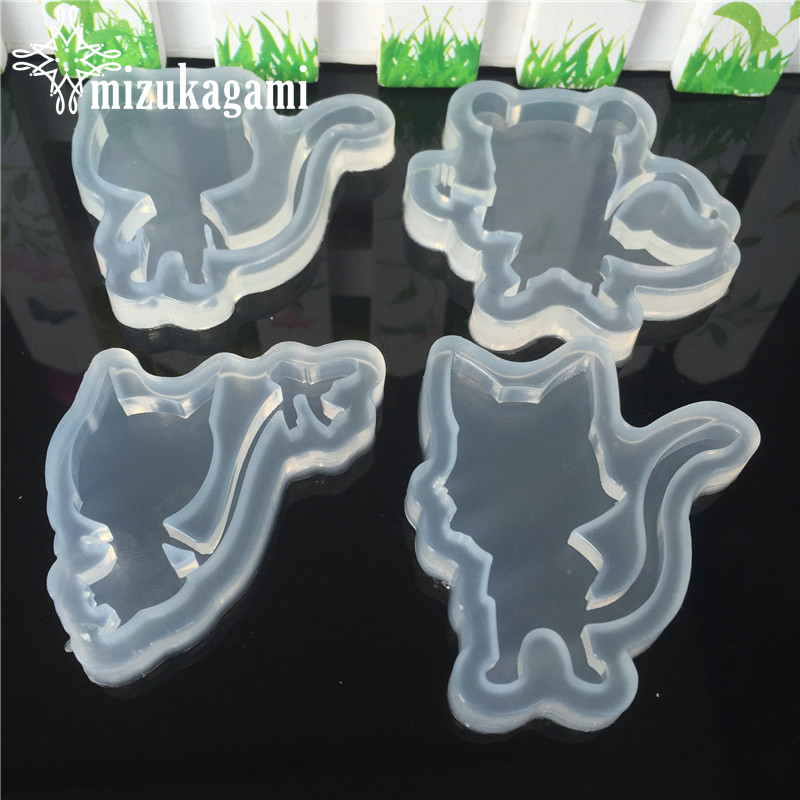 1pcs UV Resin Jewelry Liquid Silicone Mold Cartoon Cat Animal Resin Charms Molds For DIY Intersperse Decorate Making Jewelry
