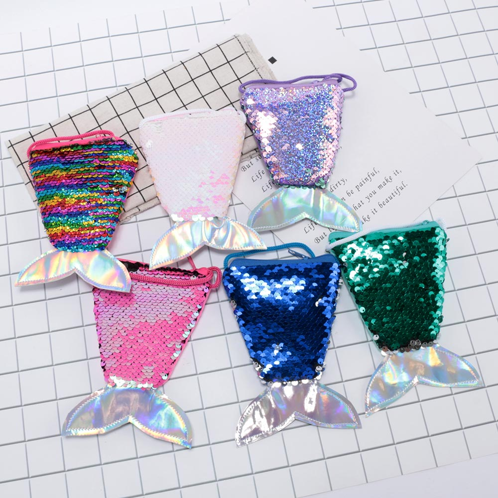 1pcs Fashion mermaid tail sequins purse girls Messenger bag children gift bag
