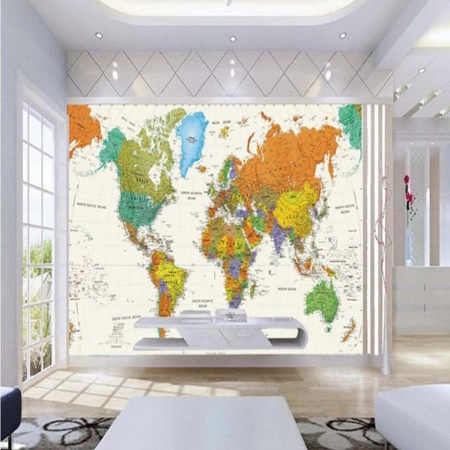 fototapete englisch weltkarte großes wandbild tapete büro ... - Retro Tapete Wohnzimmer