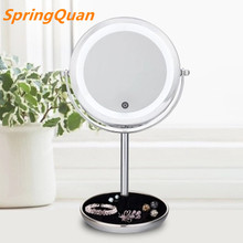 SpringQuan 7 inch Touch switch light-dimmer mirror metal desktop makeup mirror 5X magnifying battery LED 2-Face cosmetic mirror