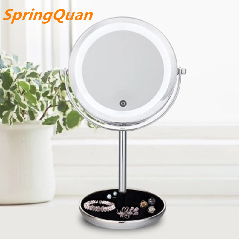 цена на SpringQuan 7 inch Touch switch light-dimmer mirror metal desktop makeup mirror 5X magnifying battery LED 2-Face cosmetic mirror