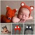 2016 New Infant crochet knit fox hat props newborn handmade bonnet elf hats fotografia hat newborn baby photography