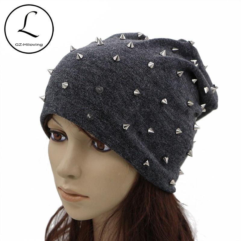GZHILOVINGL Beanie For Women Handmade Full Rivet Skullies Beanies Drak Gray Slouch Hat Ladies Dome Cap Knitted Bonnet Hats 61225