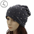 GZHILOVINGL Beanie For Women Handmade Full Rivet Skullies Beanies Drak Gray Slouch Hat Ladies Dome Cap Knitted Bonnet Hats 61225