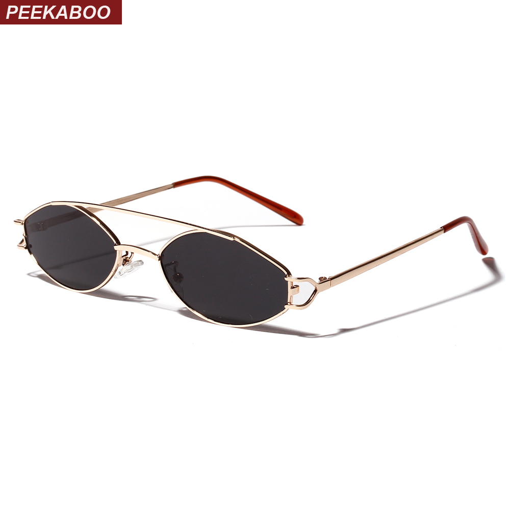 da38aacd1f Peekaboo 2019 sunglasses women small frame gold orange stainless steel oval  sun glasses for men retro metal frame uv400 unisex