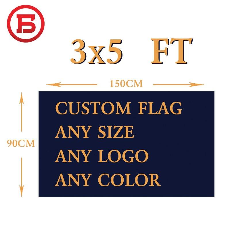 Bandera personalizada 150X90 cm (3x5FT) 120g 100D poliéster todos los logotipos de todos los colores todos los tamaños bandera real