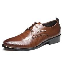 Мужские модельные туфли модные мужские повседневные туфли в деловом стиле с острым носком на шнуровке коричневые, черные кожаные туфли-оксфорды Большие размеры 38-48