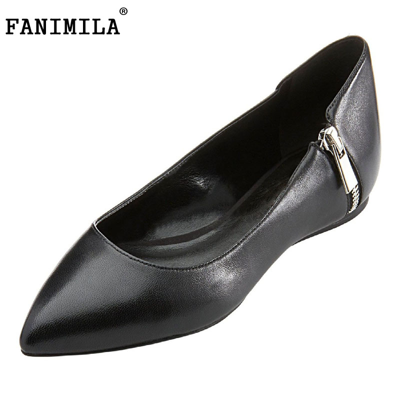 Fashion Women Shoes Woman Flats high quality Casual Comfortable pointed toe Zipper Women Flat Shoe New Flats Size 35-46 B252 fashion women shoes woman flats high quality comfortable pointed toe rubber women sweet flats hot sale shoes size 35 40