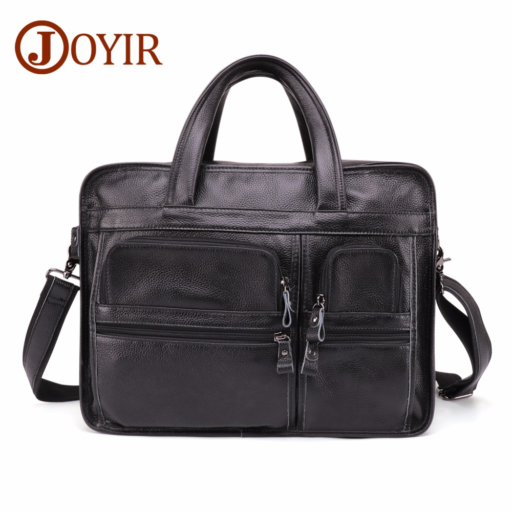 JOYIR Men's Genuine Leather Briefcase Large Laptop Tote Bag Travel Male Casual Cow Leather Handbag Vintage  Business Briefcase