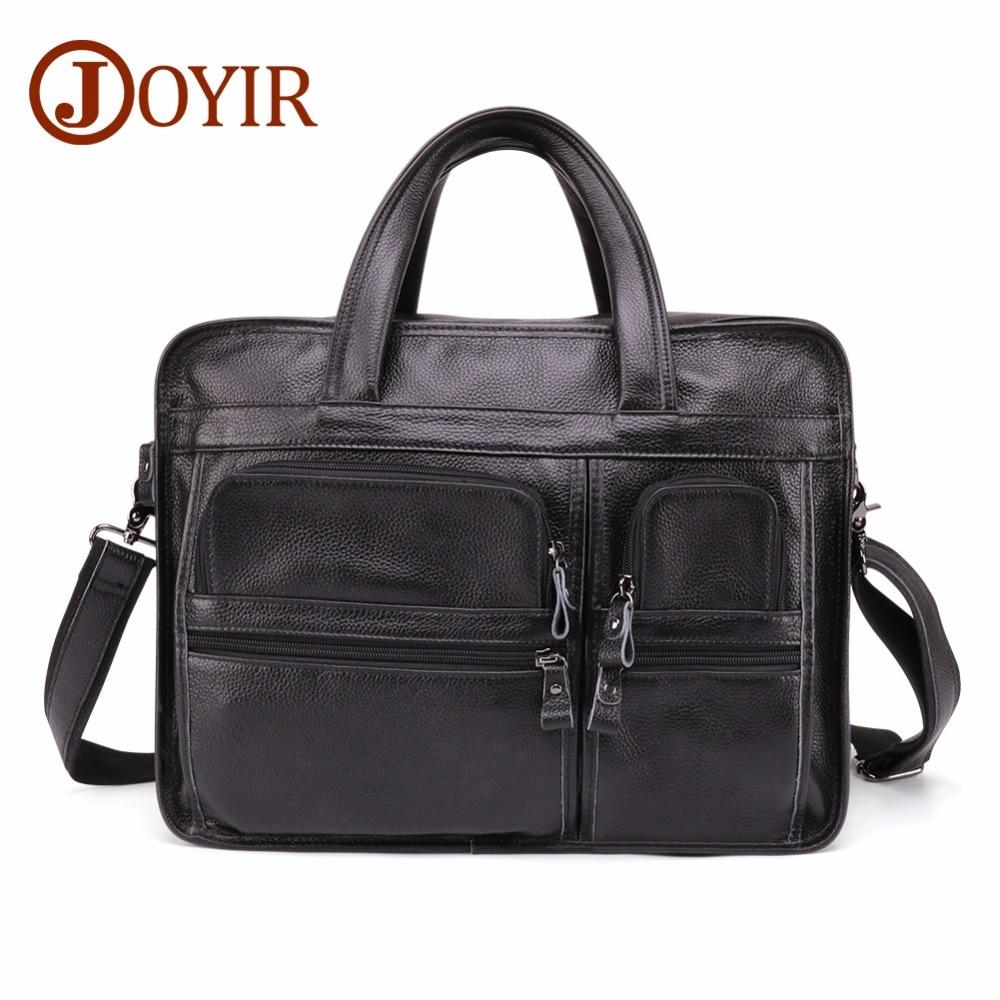JOYIR Mens Genuine Leather Briefcase Large Laptop Tote Bag Travel Male Casual Cow Handbag Vintage  Business