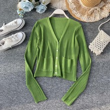 Women Cardigan Autumn Spring Striped Shirt V-neck Pocket Long Sleeve Solid Casual European Woman Sweater Female Tops Avocado Gre pocket design v neck striped sleeve cardigan