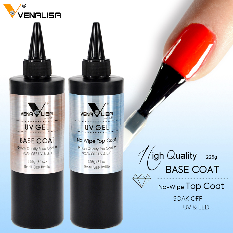 225g Venalisa No Wipe Top Coat New Package No Acid Base Coat Nail Salon Used Nail Gel Polish Soak Off UV LED Gel Top Coat-in Nail Gel from Beauty & Health