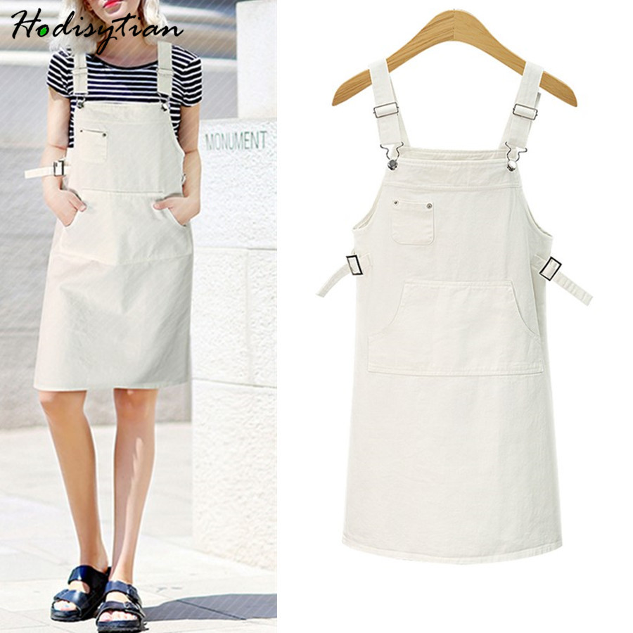Hodisytian Fashion Women Denim Dress Casual Sundress Spaghetti Strap Straight Suspender Dress Mini Vestidos Female Plus