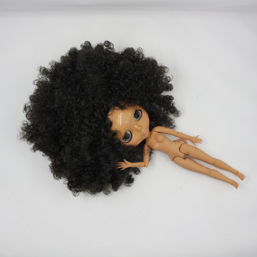 Neo Blythe Doll with Black Hair, Dark Skin, Shiny Face & Jointed Body 3