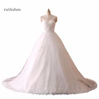 ruthshen Elegant High Neck Wedding Dresses With Precious Crystals and Stunning Beads Appliques Vestido De Novia 2018