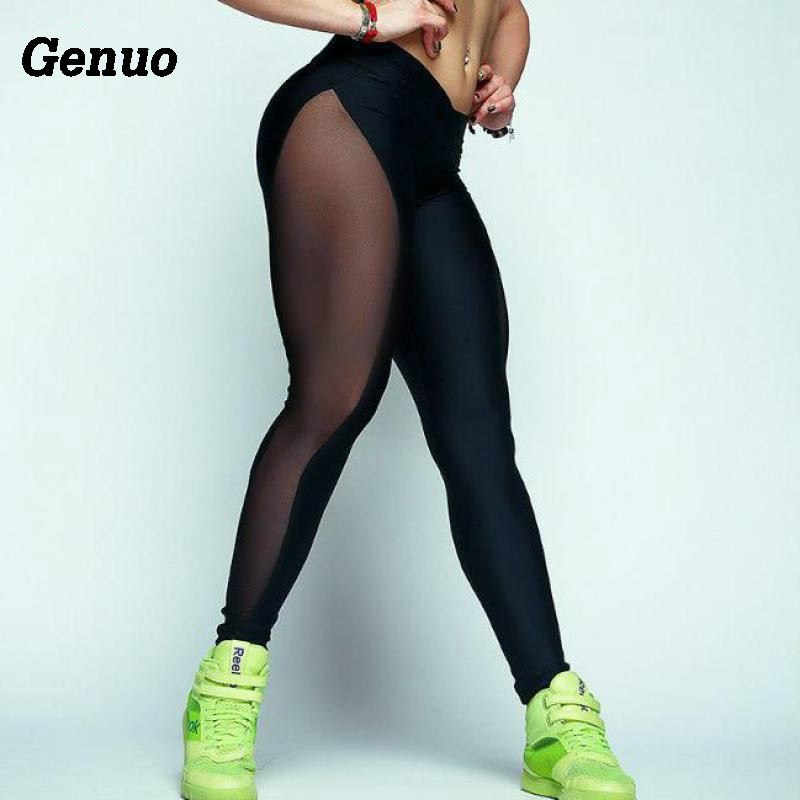 Genuo 2018 Female Elastic Leggings New Fashion Mesh Stitching Stretch Britches Sexy Transparent Trousers Pants