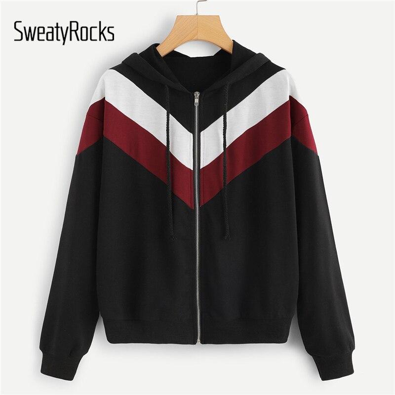 SweatyRocks Casual Colorblock Zipper Kordelzug Hoodie Jacke 2018 Neue Mode Lange Hülse Herbst Frauen Sporting Top Und Jacken