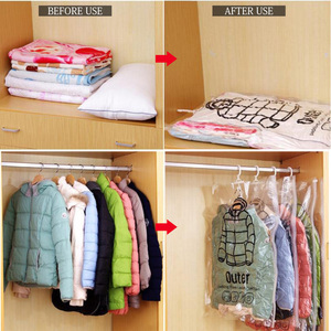 Image 3 - Can Hang Vacuum Bags For Clothes Foldable Transparent Large Medium Hanging Vacuum Storage Bag Compressed Cover For Clothes  Pump