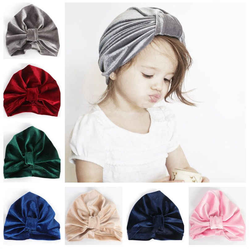 8a0a240a9 New Velvet Baby Hat Girls Autumn head wraps Baby Boy Cap Photo Props  Elastic Infant Beanie Turban Hat Baby Accessories H138S