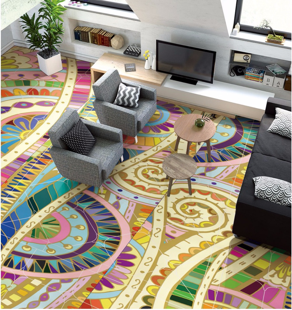 Free Shipping high quality Morocco abstract pattern hand-painted ceiling floor wallpaper living room show hall wear floor mural free shipping 3d sky showroom wooden bridge living room walkway non slip self adhesive wear floor wallpaper mural
