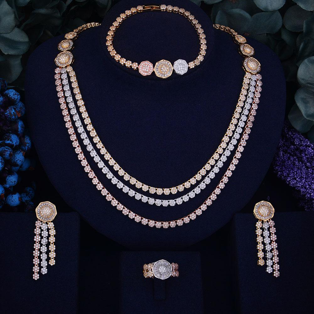 GODKI Luxury Flower Leaf Design Women Nigerian Wedding Naija Bride Cubic Zirconia Necklace Dubai 4PCS Wedding
