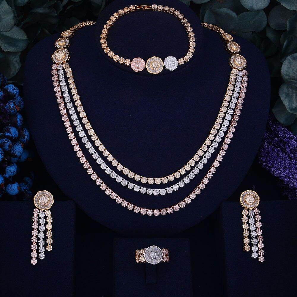 все цены на GODKI Luxury Flower Leaf Design Women Nigerian Wedding Naija Bride Cubic Zirconia Necklace Dubai 4PCS Wedding Jewelry Set