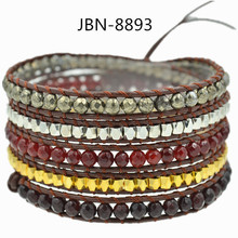 2016 leather handmade charms natural semi-precious stone beaded jewelry leather mutilayer bracelet for women JBN-8893