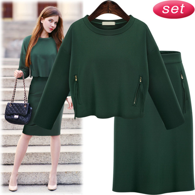 2 Piece Set Women 2017 Plus Size Women Clothing European Style Two Piece Set Women Winter Suit Green Color Survetement
