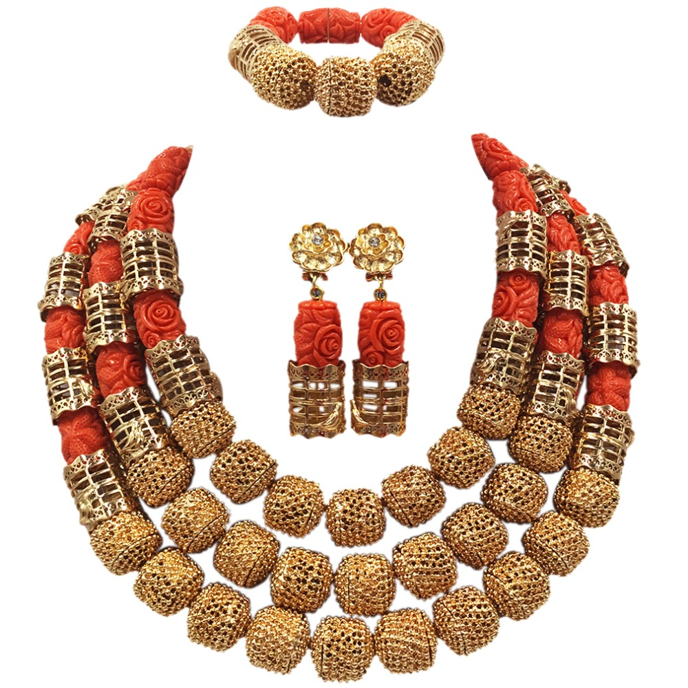 Artificial Coral Necklace Jewelry Set for Brides Nigerian Wedding African Coral Beads Jewelry Set Gold Dubai Party Beads ACB-31 latest yellow and gold beaded artificial coral nigerian wedding african beads jewelry set acb 11